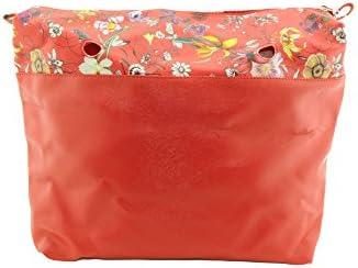 Vento® Interior de bolso sintético rojo con flores con cremallera compatible con Obag