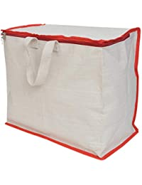 Shopping Grocery Vegetable Bag With Reinforced Handles & Thick Base With Storage Covers Zip (K61)