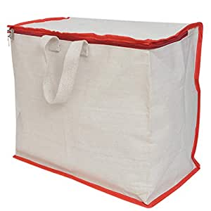 sanjis enterprises Shopping Grocery Vegetable White Canvas Bag with Reinforced Handles and Thick Base with Storage Covers Zip
