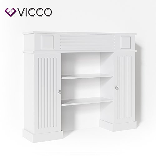 VICCO Kaminumrandung im Landhaus Stil mit Tür 119,5 x 103 cm in Weiß - Umbau Sims Rahmen Konsole Kamin Elektrokamin Gelkamin -