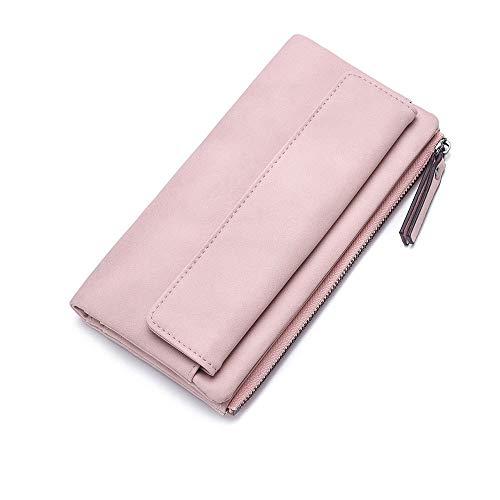 Vnlig Geldbörse Kreative Persönlichkeit Neue Pu-Leder Kontrastfarbe Brieftasche Zwei Falten Lange Weibliche Brieftasche Brieftasche (Farbe : Pink)