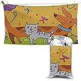 Asciugamano in microfibra lavabile viso divertente per cani e gatti Set di asciugamani da spiaggia in microfibra Asciugamano da bagno ad asciugatura rapida Asciugamano da spiaggia per adolescenti 27,