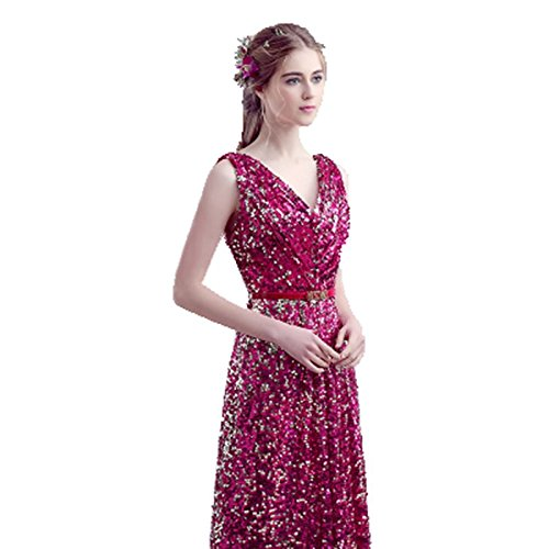 Drasawee Damen Empire Kleid rosy red