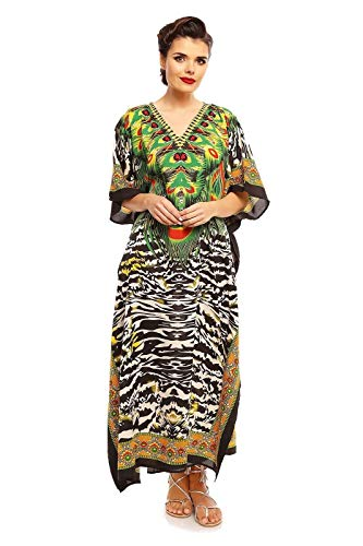Looking Glam New Ladies Oversized Maxi Kimono Kaftan Tunic Kaftan Dress Free Size, Gr.- 46-52/Etikettengröße- 29, Schwarz - 17004 -