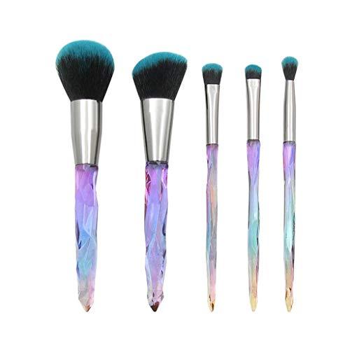 Pinceaux Maquillage,Lot De 5 Pinceaux De Maquillage en Cristal Et Diamants avec PoignéE Transparente Poils Synthetiques Doux Et sans Cruauté