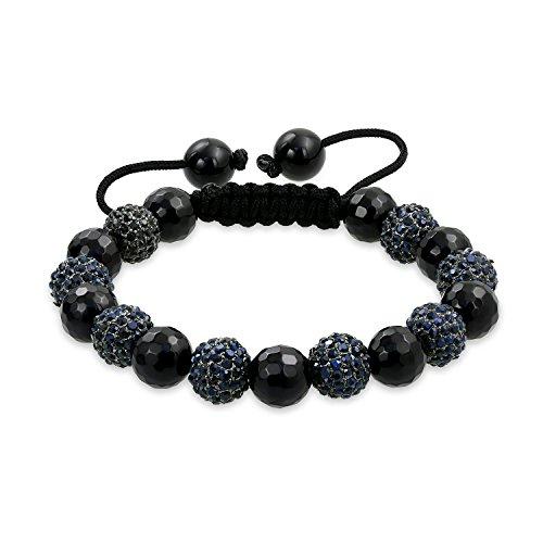 Bling Jewelry Schwarzer Facettierter Onyx Kristall Shamballa Inspiriert Armband Für Damen Für Herren Schwarze Kabel String Einstellbar -