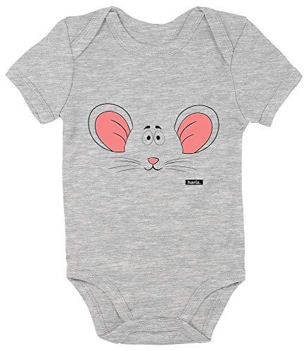 HARIZ Baby Body Kurzarm Maus Gesicht Süß Tiere Dschungel Plus Geschenkkarte Bleistift Grau 6-12 Monate