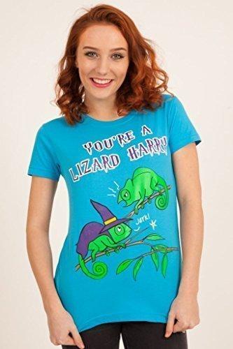 hentrenner and Fangs Lizard T-Shirt Türkis Goth Emo Punk Mädchen - Türkis, Small (Lizard Kostüme Für Kinder)