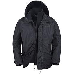 Mountain Warehouse Chaqueta Fell resistente al agua 3 en 1 para hombre - Chubasquero con capucha ajustable, forro de felpa interior desmontable, bolsillos Negro X-Large