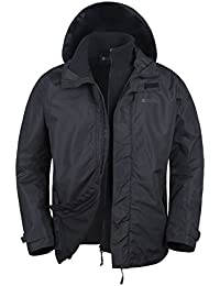 Mountain Warehouse Fell Men's 3 in 1 Water Resistant Jacket - Adjustable Hood Rain Coat, Detachable Inner Fleece, Pockets - Ideal All Season Outer In Cold Weather