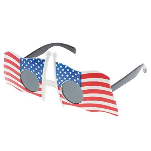 tybrille Spaßbrille Sonnenbrille Mottobrille Karneval Fasching Halloween Kostüm Selfie-Requisit - USA Flagge ()