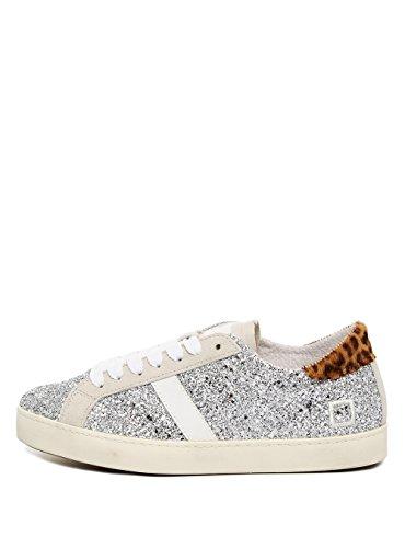 D.a.t.e. Date Schuhe Damen Sneaker Hill Low Glitter Silver Silber Leder Women, Schuhgröße:EUR 39 (Hills-schuhe Für Frauen)