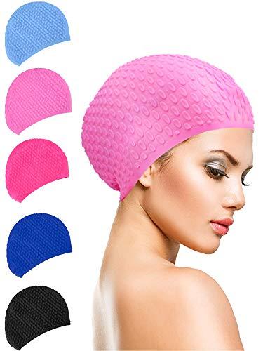 eujiancai Long Hair Swim Cap Silicone Waterproof Swimming Cap for Adults Kids Women Men, Keeps Hair Clean Ear Dry (Color 3) Clean Stretch-cap