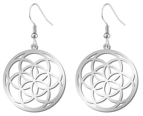 Fischhaken Wikinger Nordic Symbol Talisman Amulett Blume des Lebens Kreis Ohrringe Edelstahl Tropfen Ohrringe für Mädchen Frauen (Blumensamen)
