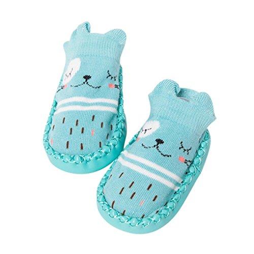 FNKDOR Cartoon Neugeborenes Babyschuhe Mädchen Jungen Anti-Slip Socken Slipper Stiefel(12-18 Monate,Blau)