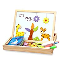 Syolee 100 Pack Magnetic Jigsaw Puzzle Double Sided Wooden Drawing Board Educational Wood Toys for Boys Girls Kids Toddler 3 4 5 Year Olds
