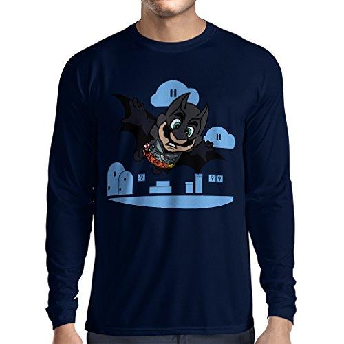 lepni.me T-Shirt à Manches Longues Superhero! (Small Bleu Multicolore)