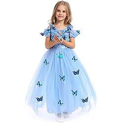 URAQT Fille Robe Papillon Cinderella Princess Robe La Reine des Neiges Elsa Costume Bleu, Bleu, 110 pour les 3-4 ans