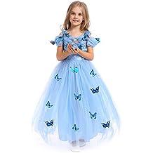 URAQT Costume regina delle ragazze della principessa Dresses Blue Butterfly Tulle vestito operato da sposa Cenerentola Gonna