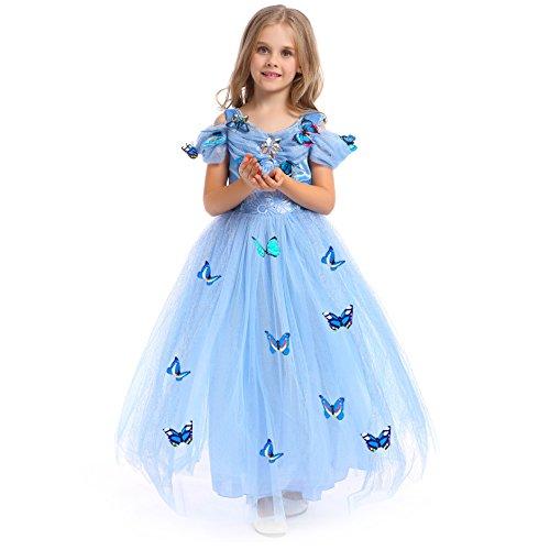 3caea7d239342 URAQT Costume regina delle ragazze della principessa Dresses Blue Butterfly  Tulle vestito operato da sposa Cenerentola