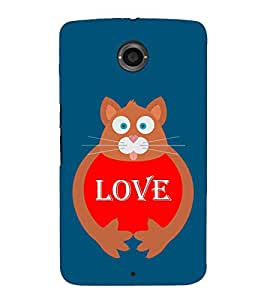 Fiobs Designer Back Case Cover for Motorola Nexus 6 :: Motorola Nexus X :: Motorola Moto X Pro :: Google Nexus 6 (Love Cat Red Animal)