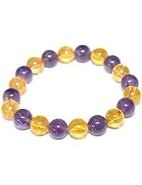 Crystal Cave Amethyst & Citrine Bracelet 10MM Manifest Abundance Prosperity Spiritual Healing