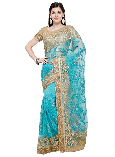 Aasvaa Terrific Women Embroidered Net Saree With Un-Stitched Blouse (NMSN467FIROJI_Firoji)