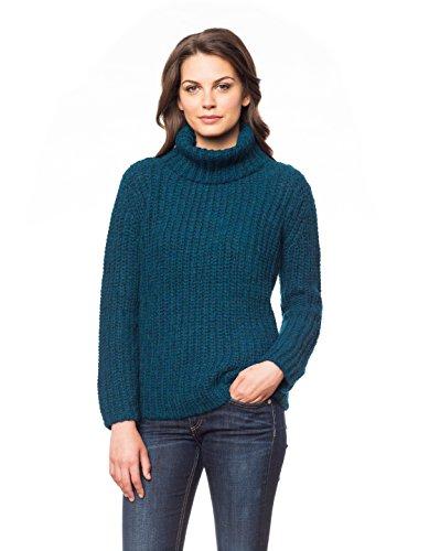 Damen - 100% aus gebürstetem Baby Alpaka – Rollkragen Pullover - Farbe: Blaugrün - Größe S