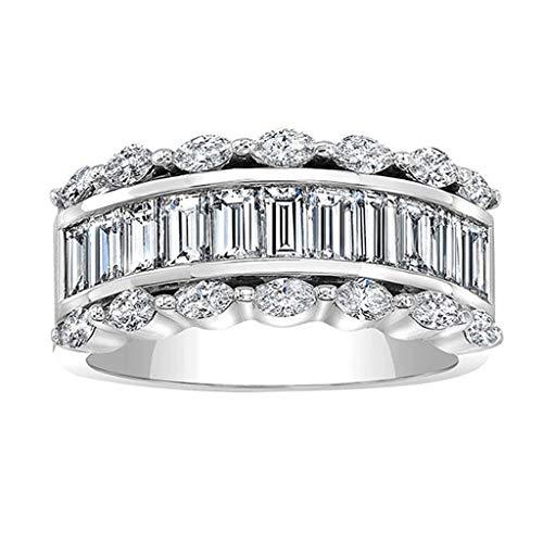 MeiMei 2019 Wunderschöne Diamant Quadrat Zirkon Ring Schmuck Fingerring Ringe für Männer Frauen Coulples Hochzeit Mutter Valentine Party (6)