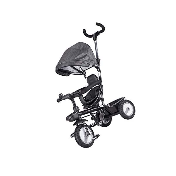 LRHD Children's Tricycle, 4-in-1 Baby Tricycle Cart, Suitable for 10 Months to 6 Years Old Walker, with Adjustable Push Handle, Detachable Ceiling, Retractable Pedal, Lockable Pedal LRHD 1. 4-in-1 tricycle: easy to switch between the four modes and easy to disassemble and install all components. This tricycle can grow up with a child aged 10 months to 5 years old, which is a rewarding investment for your child's childhood. Our four-in-one tricycle will be one of your children's fond memories of childhood. 2. Convenient for parents: when children cannot ride independently, parents can easily use the push handle to control the steering and speed of the tricycle. The height of the push handle can be adjusted to meet the different needs of parents. The push handle is also detachable, allowing children to enjoy free rides. 3. Ensure safety: Considering the safety of children when using, we have made many detailed safety designs. There is a detachable sponge guardrail on the seat, which can also be opened to let children get on the bus. The additional vertical safety belt can not only prevent the child from falling down, but also cover the button to avoid injury to the child. 3