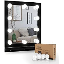 Luces de Espejo–hairby kit LED Hollywood Luces Espejo para maquillaje con 10bombillas regulable Luces con pegatinas 3m conectado AL Mesa de maquillaje 13,1pies (Espejo No incluido)