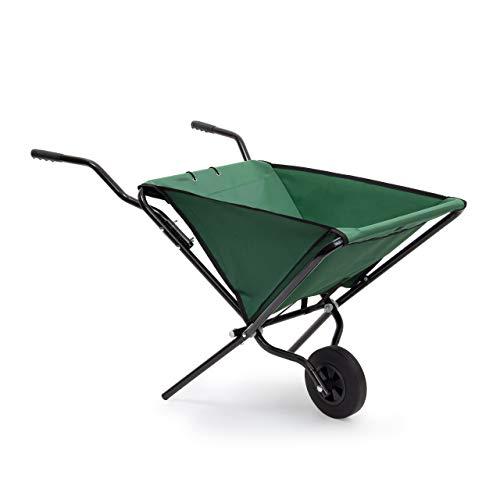 Relaxdays Schubkarre faltbar HBT 66 x 64 x 112 cm Faltschubkarre aus Stahl mit Korb aus stabilem Polyester ca. 56 l Fassungsvermögen platzsparende Gartenkarre zum Aufhängen belastbar bis 30 kg, grün