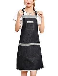 Feoya Delantal de Cocina de Denim Mandil de Trabajo con Bolsillos para Camareros Restaurantes Cafetería -