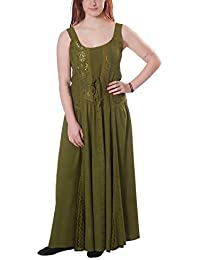 Robe à bretelles médiévale avec broderie dentelle cordelette à l'avant vert