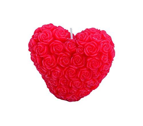 TPFNet 1 Stück Teelicht Herz rot groß - Teekerzen Herz rot groß - Dekokerzen Herz rot groß - Dekokerze - mit den Maßen Höhe 9cm X 5cm Tiefe X 8cm Breite - ideal für schöne Momente, zur Dekoration, für Partys und besondere Anlässe geeignet
