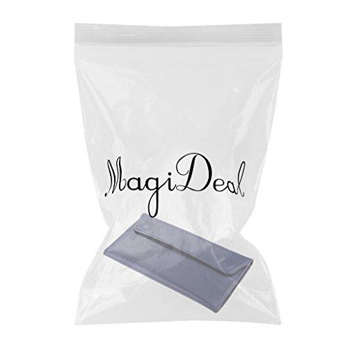 MagiDeal 1pz Portafoglio Unisex Lunga Multifunzione Borsa Di Cuoio Artificiale - Nero Blu