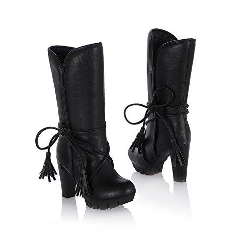 Coucou Womens PU cuir épais talon haut plateforme Glands dentelle Décoration d'hiver Bottes chaudes Noir
