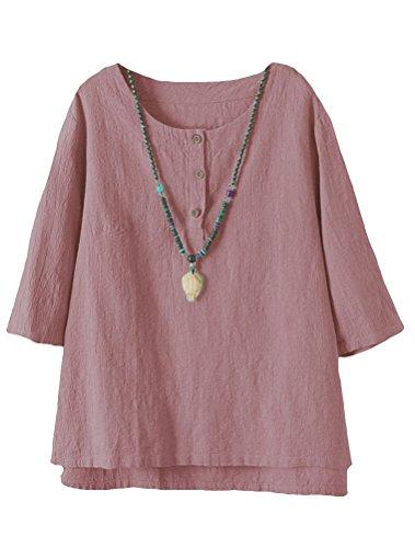 Vogstyle Damen Baumwoll Leinen Tunika T-Shirt Jacquard Oberseiten (L, Rosa)