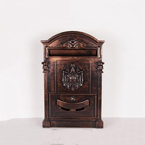 HZB Europäische Art-Landhaus-Briefkasten-im Freien antike Wand-Art Briefkasten-Dekoration, antikes rotes Kupfer