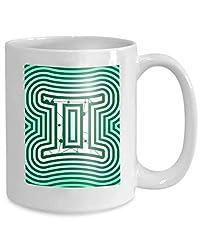 Idea Regalo - Caffè Tè Tazza Tazza simbolo dello zodiaco strutturato linee collegate punti modello segno gemelli icona simbolo zodiacale Navy Perfect 110z