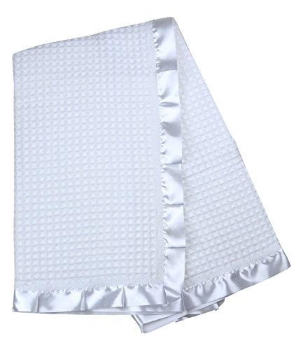 BabyPrem Baby Bettwäsche Große Taufe Strickdecke Schal Taufe-Decke Satin Rand Weiß -