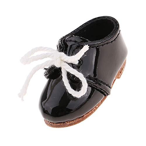 F Fityle 1 Paar Puppen Schuhe Schnürhalbschuhe Lederschuhe aus PU-Kunstleder für 1/6 Monster High Doll Dress Up - Schwarz