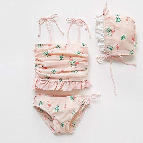 QianZhe Kinderbadebekleidung Damen Badeanzug 3er Mittel Und Klein Kinderanzug Bikini Pink- 120cm(120cm【5T】)