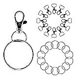 Naler 30 Set Karabiner Haken Schlüsselringe Schlüsselanhänger mit Abnehmbaren Ringen (30x Karabinerhaken + 30x Schlüsselring)
