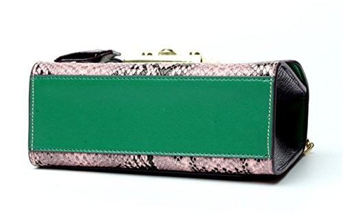 Xinmaoyuan Borse donna serpentina Portafoglio in vera pelle Borsa catena Colpo singolo colore tracolla messenger bag Mini borsa quadrata,blu Verde
