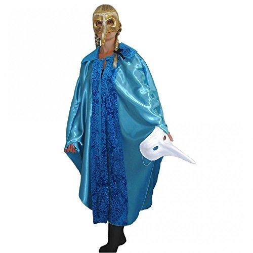 Umhang Kostüm Maskenball Venedig Fasching Karneval Cape Mantel Einhgr. (Türkis)