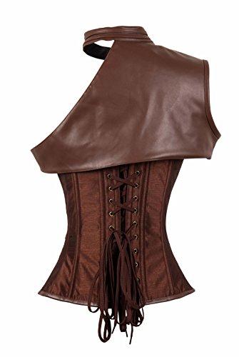 BSLINGERIE® Gothic Damen Weinlese Steampunk Corsagentop Bustier Korsett Top Corsage Braun- eine Schulter