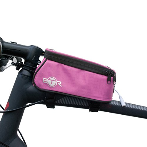 BTR - Rosa Alforja Bolsa Funda Móvil para Tubo Superior de Cuadro de Bicicleta - Impermeable