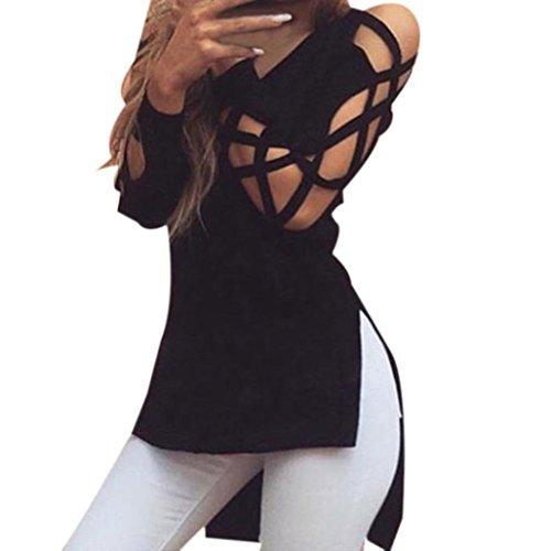 Elecenty Damen Sexy Tops Bluse Pulli T-shirt Hohle Hülse Solide Kapuzenpullis Frauen Hemden Lose Hemd Pullover V-Ausschnitt Irregulär Sweatshirts Blusen Mode Hemd Blusentop (L, Schwarz)