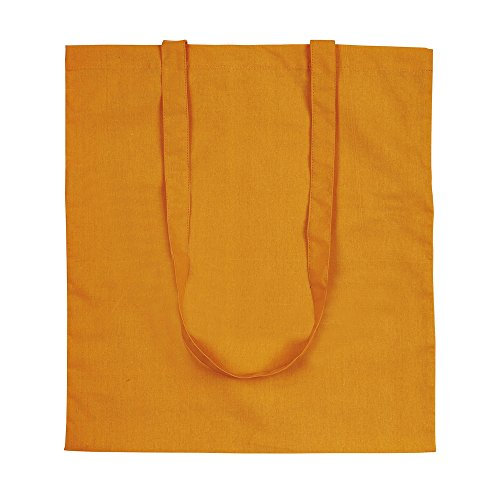 eBuyGB Pack di 5 100% 4oz cotone Shopping Tote Shoulder Bag (marrone) Orange